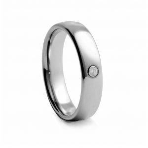 Polished Tungston Ring With Stone 6mm
