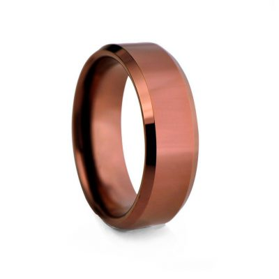 Bronze Flat Polished Tungston Ring 8mm