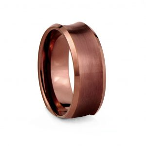 Bronze Concave Brushed Finish Tungston Ring 8mm