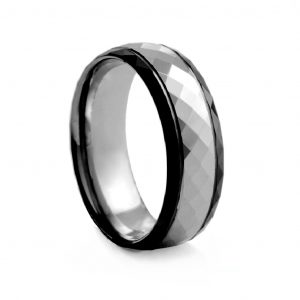 Two Tone Checkered Cut Black & White Tungston Ring 8mm