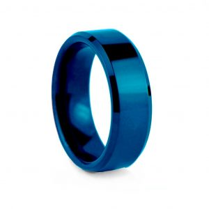 Royal Blue Flat Polished With Bevelled Edges Tungston Ring 8mm