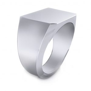 Men's Signet Square Ring - side view