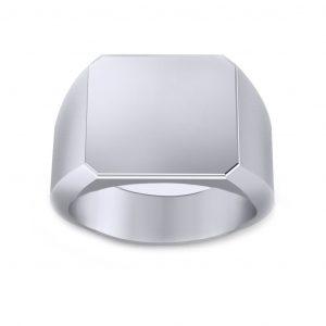 Men's Signet Square Ring - white gold