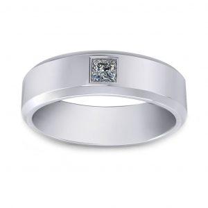 Princess Cut Stone Wedding band - white gold