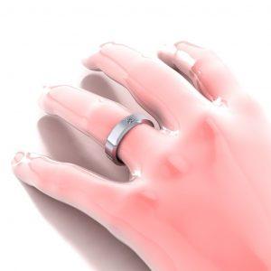 Princess Cut Stone Wedding band - hand view