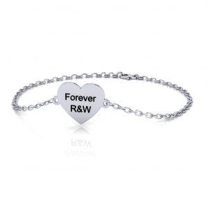 Heart Bracelet Engravable - engraved