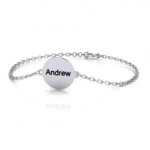 Disc Bracelet Engravable - engraved