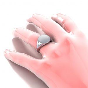 Men's Signet Round Ring - hand view