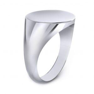 Men's Signet Round Ring - side view