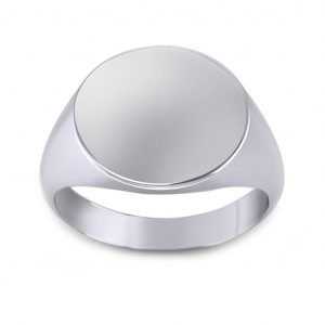 Men's Signet Round Ring - white gold