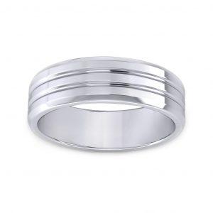 Grooved Men's Ring - white gold