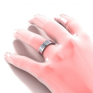 Grooved Men's Ring - hand view