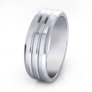 Grooved Men's Ring - side view