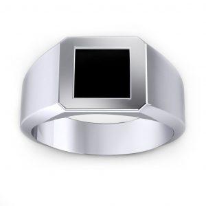Onyx Men's Ring - white gold