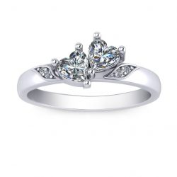 Two Heart Stone Promise Ring - white gold