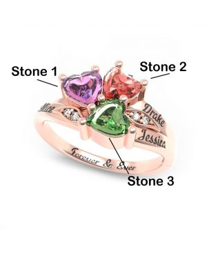Three Heart Stone Promise Ring