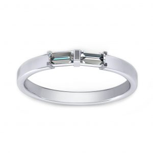 Baguette Promise Ring - white gold