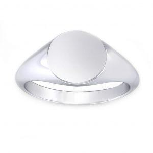 Round Shaped Signet Ring - white gold