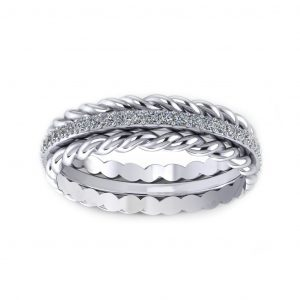Twisted Sparkling Ring - white gold