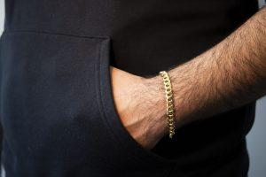 Hollow Cubain Bracelet 8.50mm - man's hand
