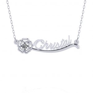 Flower Name Necklace - white gold
