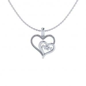 Mom Pendant With Accent Stones - white gold
