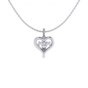 Mom Pendant With Heart Shape Stone - white gold