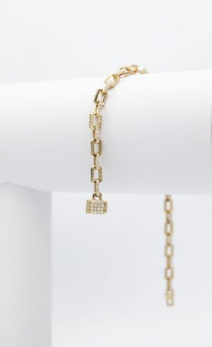 Solid Paper clip With Diamond Bracelet - side view