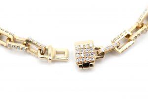 Solid Paper clip With Diamond Bracelet - lock
