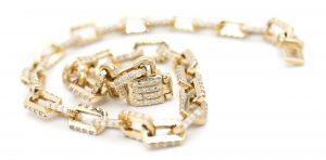 Solid Paper clip With Diamond Bracelet
