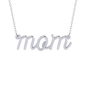 Small Letters Mom Necklace - white gold