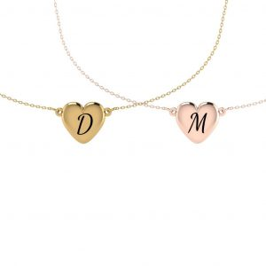 Heart Shaped Necklace With Initial Engraving - doubled