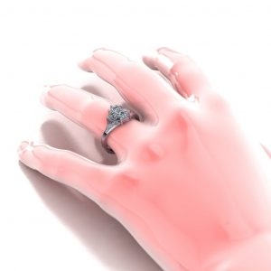 Three Heart Stone Promise Ring - hand view