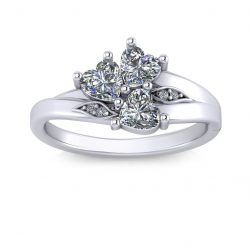Three Heart Stone Promise Ring - white gold