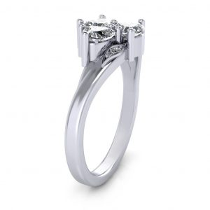 Three Heart Stone Promise Ring - side view