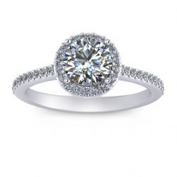 Round Halo Engagement Ring - white gold