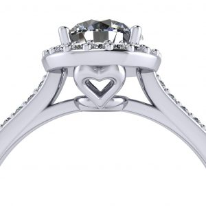 Round Halo Engagement Ring - zoomed view