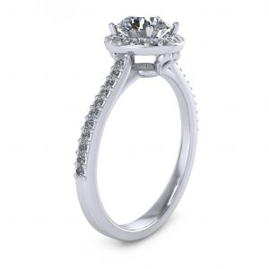 Round Halo Engagement Ring - side view