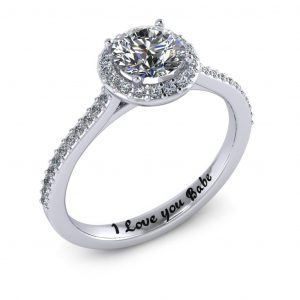 Round Halo Engagement Ring - engraved