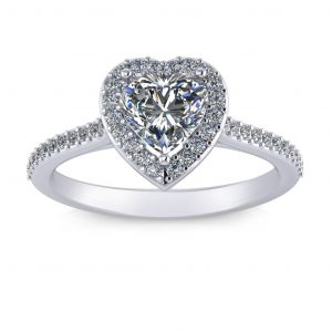 Heart Halo Engagement Ring - white gold
