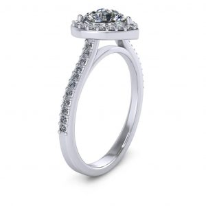 Heart Halo Engagement Ring - side view