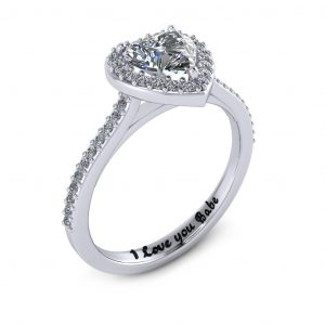 Heart Halo Engagement Ring - engraved