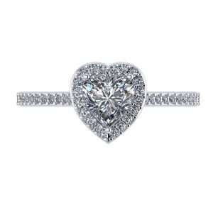 Heart Halo Engagement Ring - top view