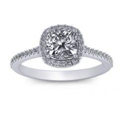 Cushion Halo Engagement Ring - white gold