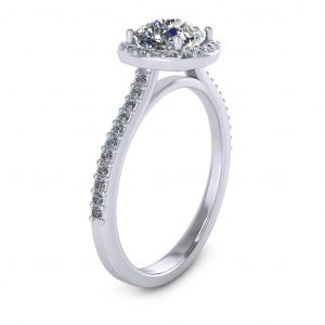 Cushion Halo Engagement Ring - side view