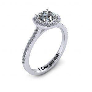 Cushion Halo Engagement Ring - engraved