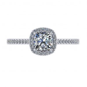 Cushion Halo Engagement Ring - top view