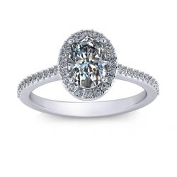 Oval Halo Engagement Ring - white gold