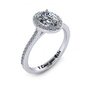 Oval Halo Engagement Ring - engraved