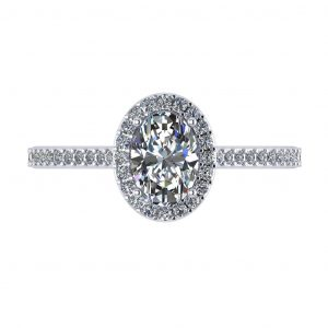 Oval Halo Engagement Ring - top view